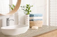 Blat de travertin alb pentru baie