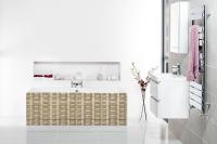 Placarea căzii de baie cu mozaic de travertin